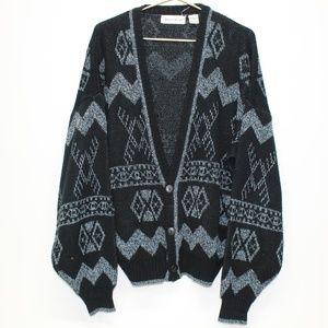 Vintage Aztec Design Grandpa Sweater Cardigan